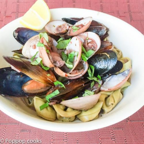 One Pan Clams Mussels Tortellini-6-poppopcooks.com