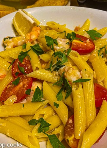 shrimp in pasta dinner